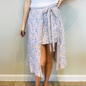 Free People hi low floral midi wrap skirt